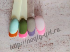 1.Френч на короткие ногти цветной
