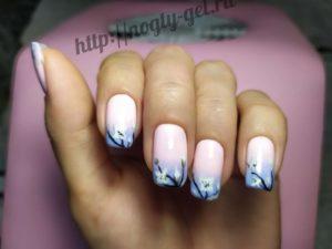 1.Омбре на ногтях гель лаком