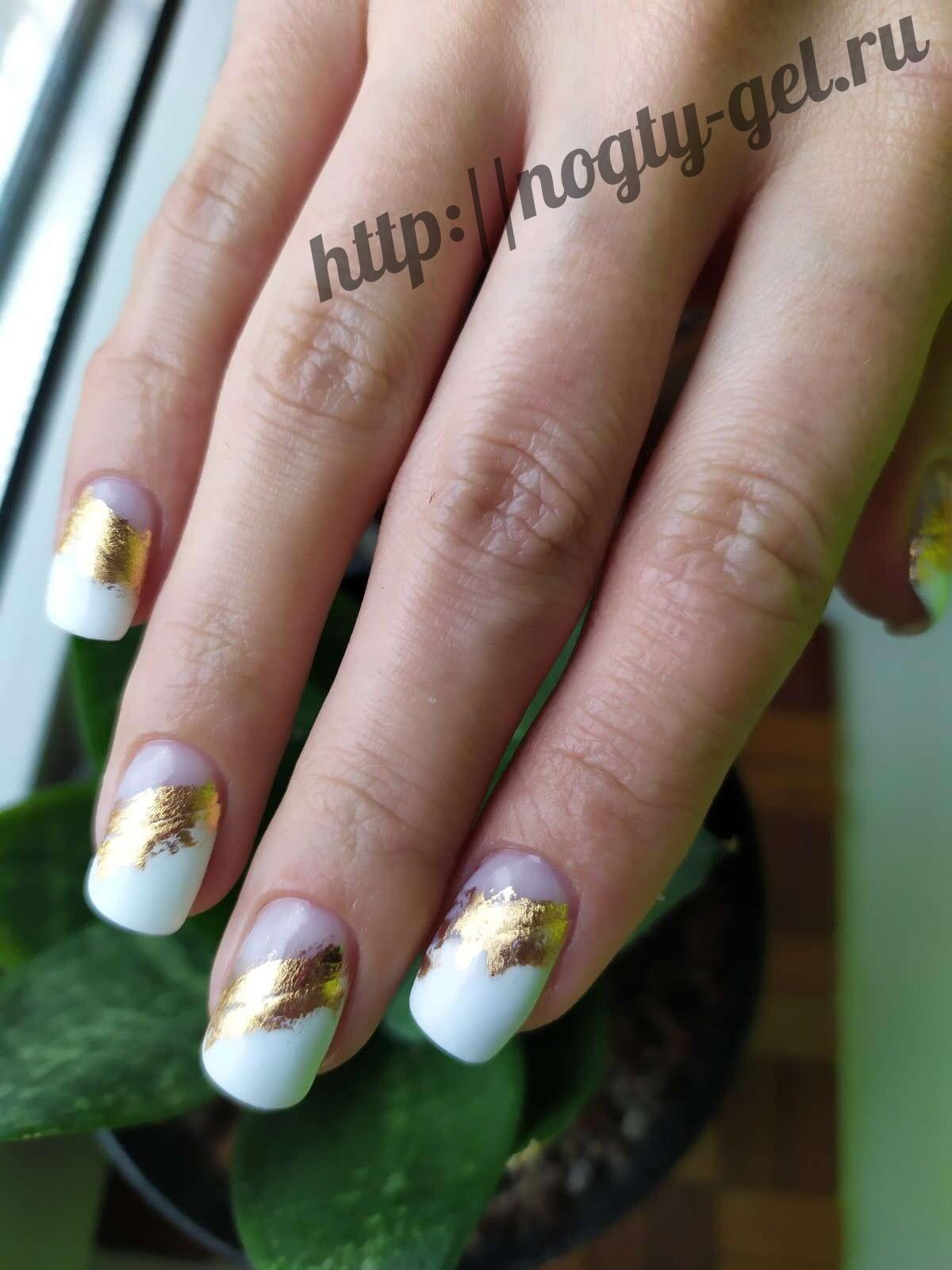 Дизайн ногтей с фольгой на гель лак.