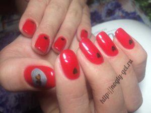 1.Ногти гель красные.