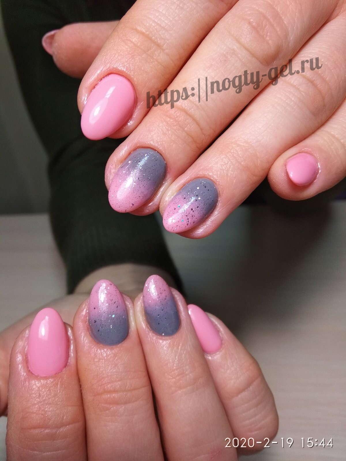 12.Дизайн ногтей розовый с серебром фото