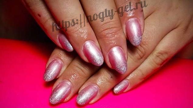 9.Дизайн ногтей розовый с серебром фото