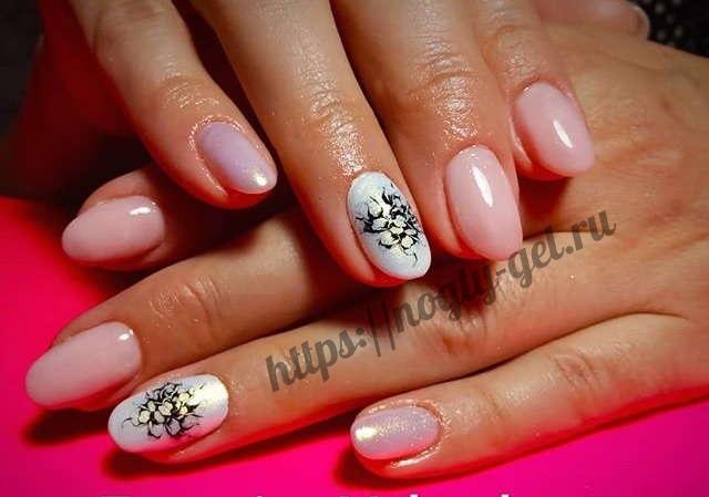 6.Дизайн ногтей розовый с серебром фото