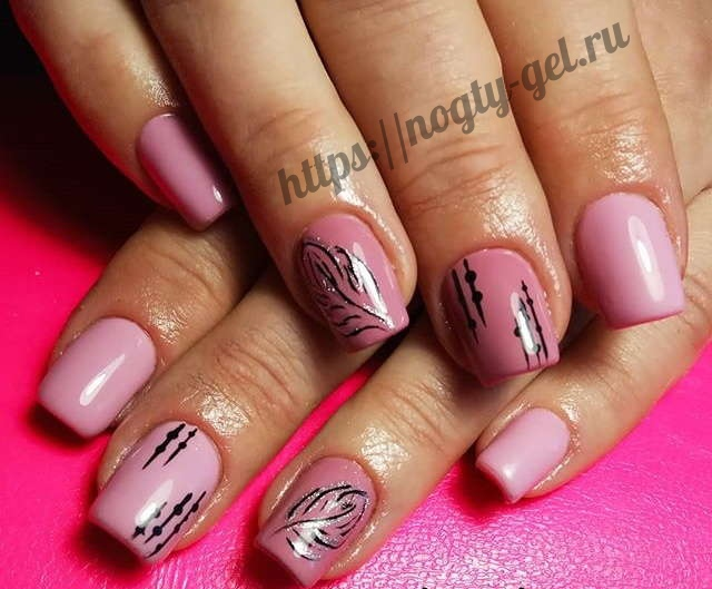2.Дизайн ногтей розовый с серебром фото