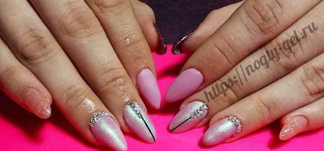 8.Дизайн ногтей розовый с серебром фото