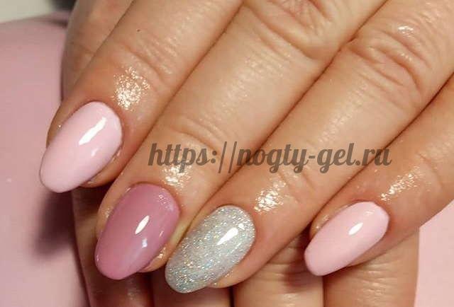 15.Дизайн ногтей розовый с серебром фото