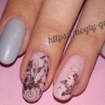 Дизайн ногтей розовый с серебром
