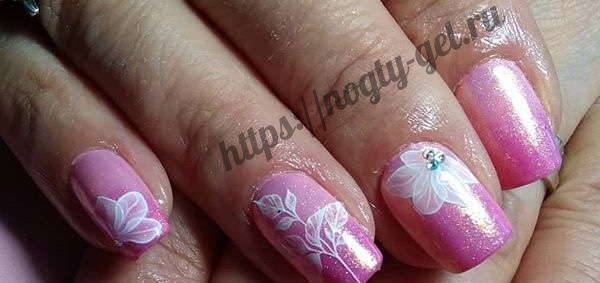 7.Дизайн ногтей розовый с серебром фото