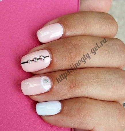 4.Дизайн ногтей розовый с серебром фото
