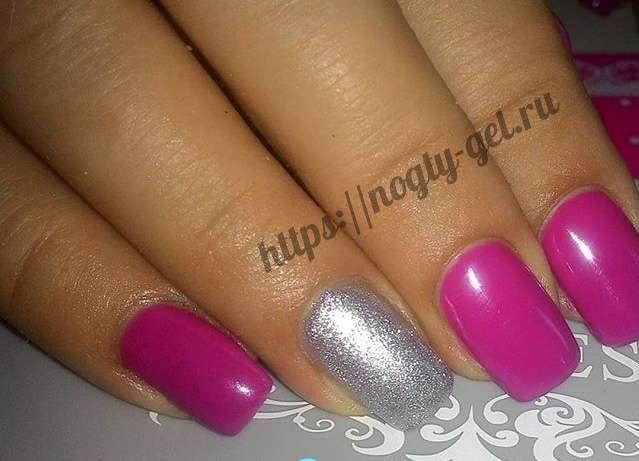 13.Дизайн ногтей розовый с серебром фото