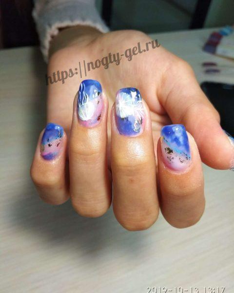 Рисунки на ногтях по мокрому гель лаку.